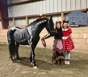 Marissa and Yars as Day of the Dead, and Elsie as Minnie Mouse